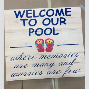 Outdoor DIY wood sign pool