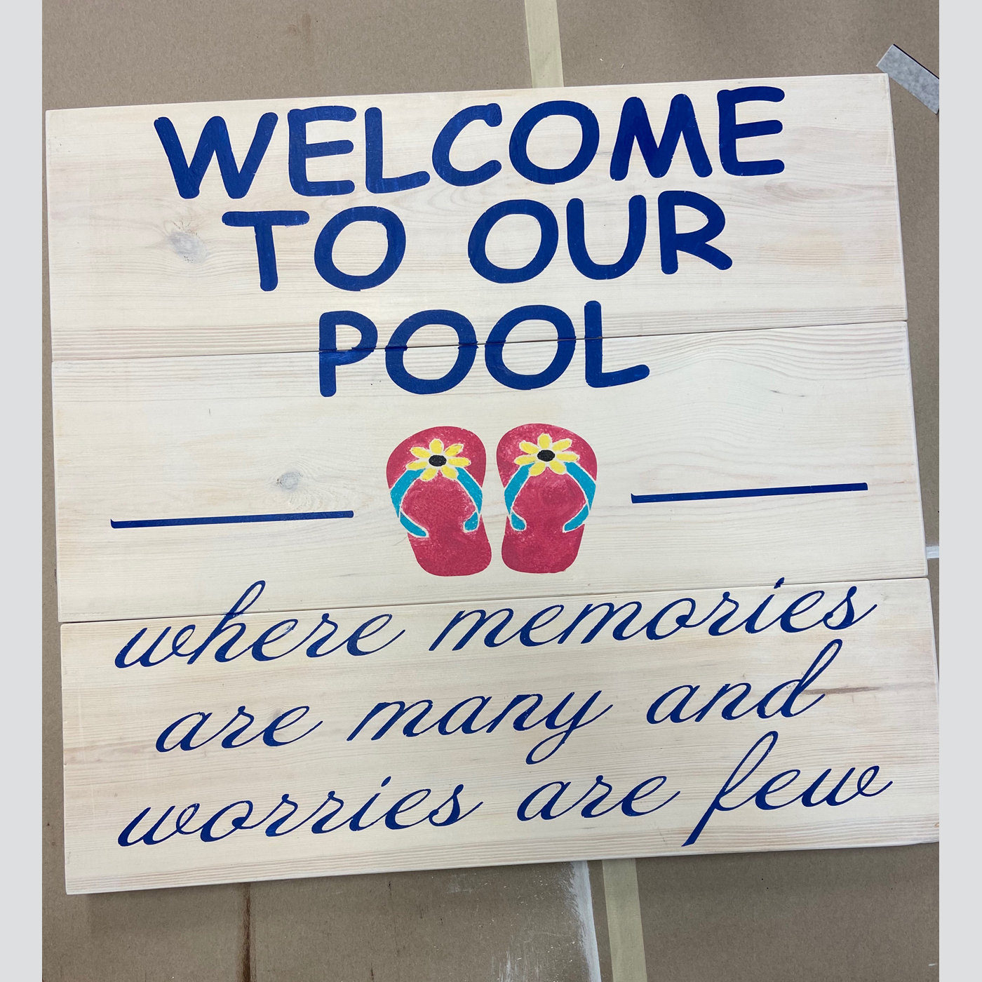 Welcome to Our Pool - Flip Flops DIY Wood Sign Project Outdoor Pool