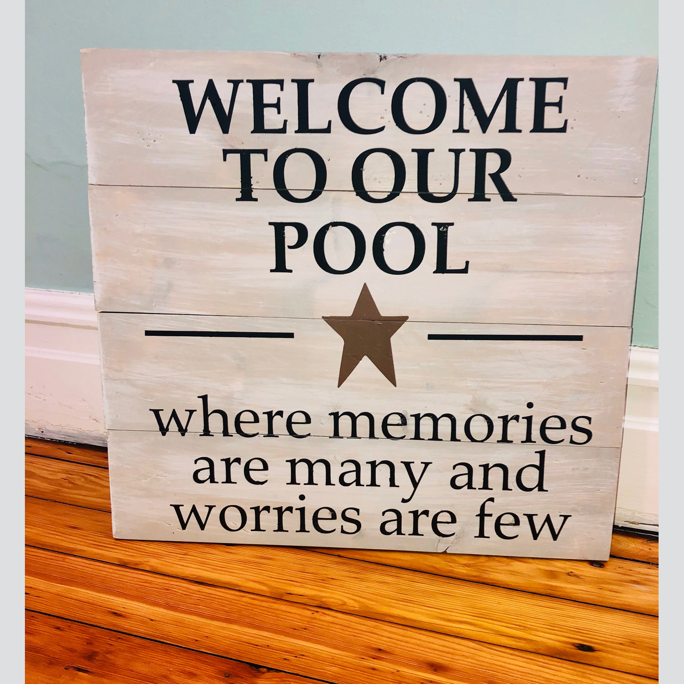 Welcome to Our Pool - Star DIY Wood Sign Project Outdoor