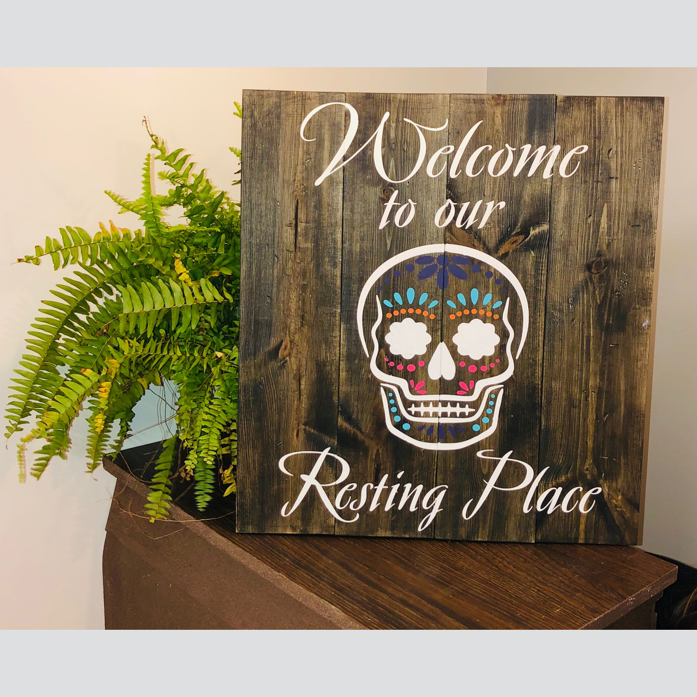 Welcome to Our Resting Place DIY Wood Sign Project Halloween Candy Skull
