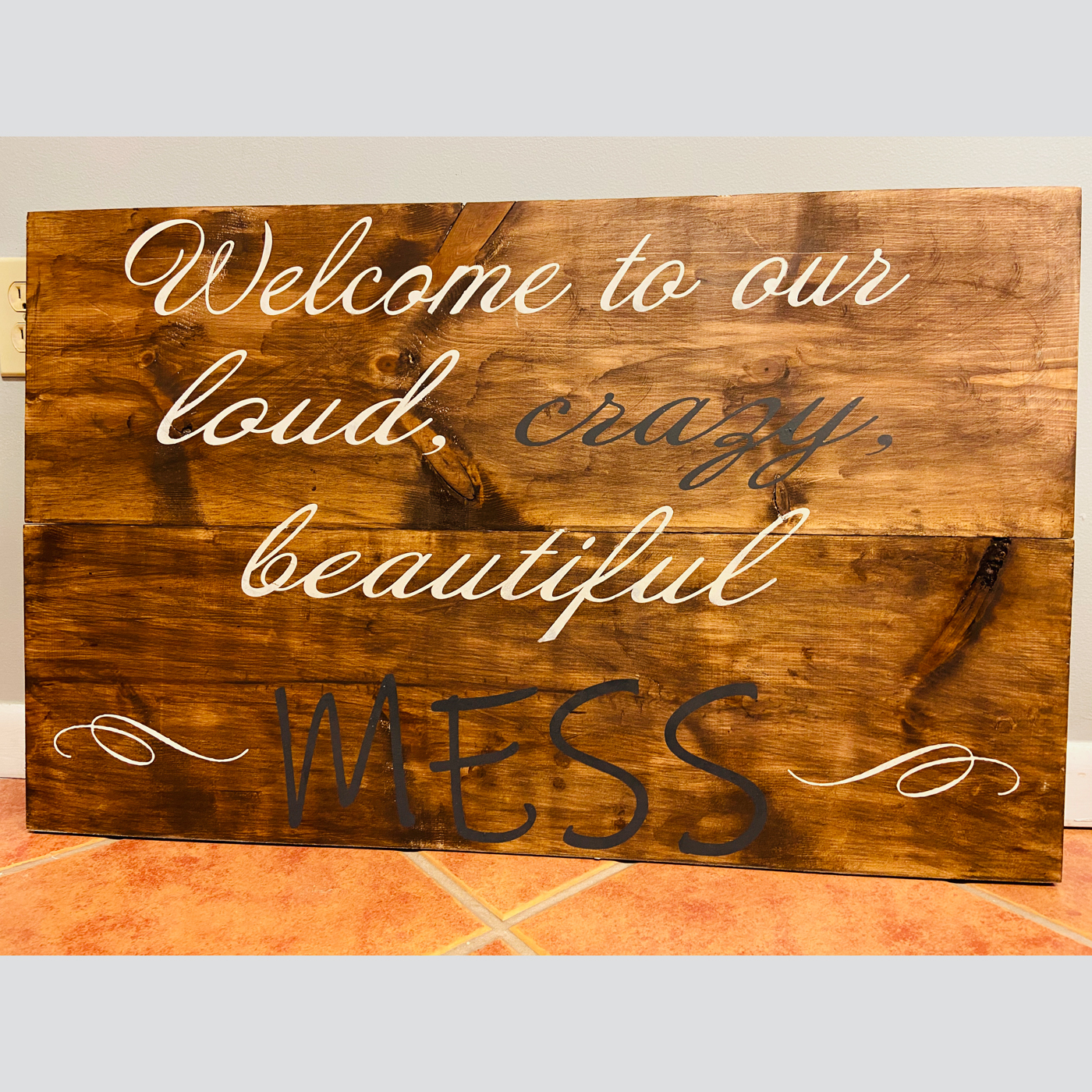 Welcome to our Beautiful Mess DIY wood sign project