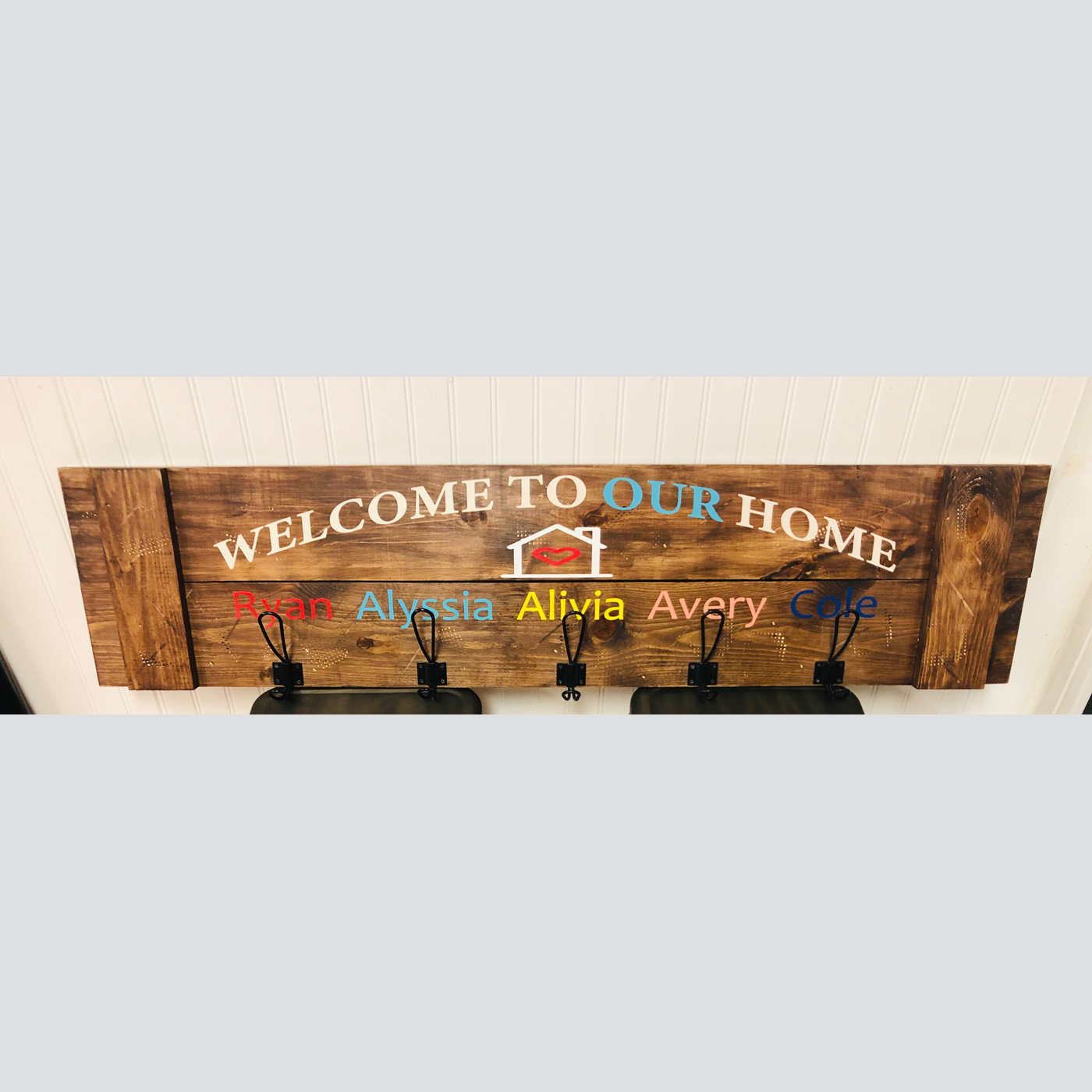 Welcome to our Home Coat Rack DIY wood Sign project