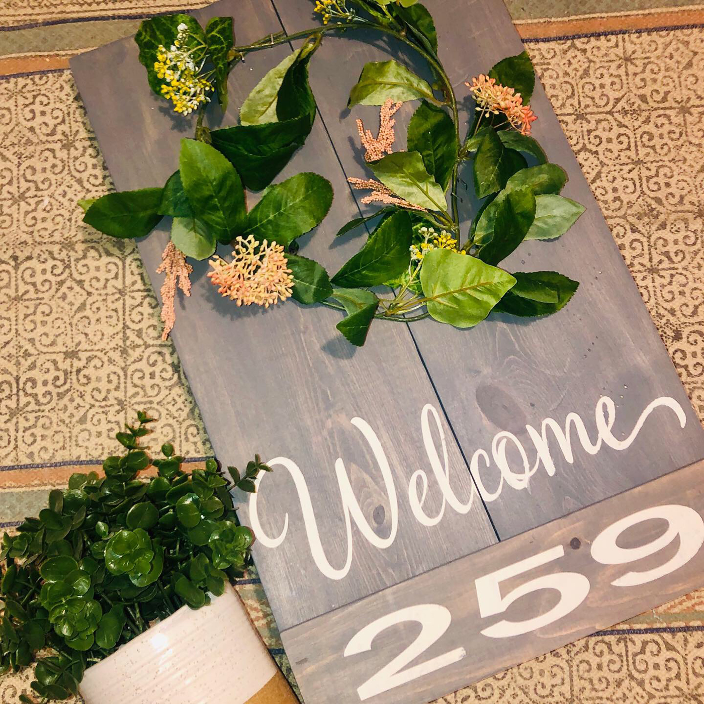 Welcome with Address and Wreath DIY Wood Sign Project