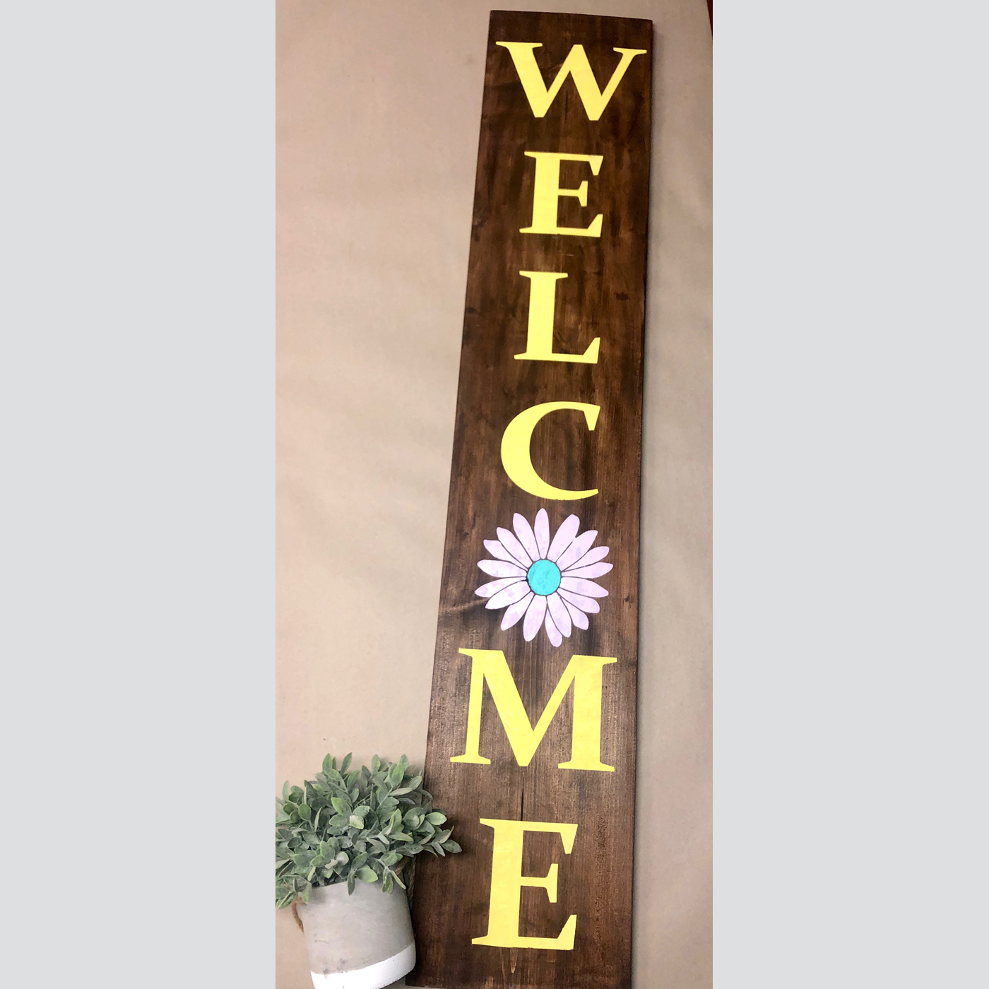 Welcome with Flower DIY Wood Sign Project Spring