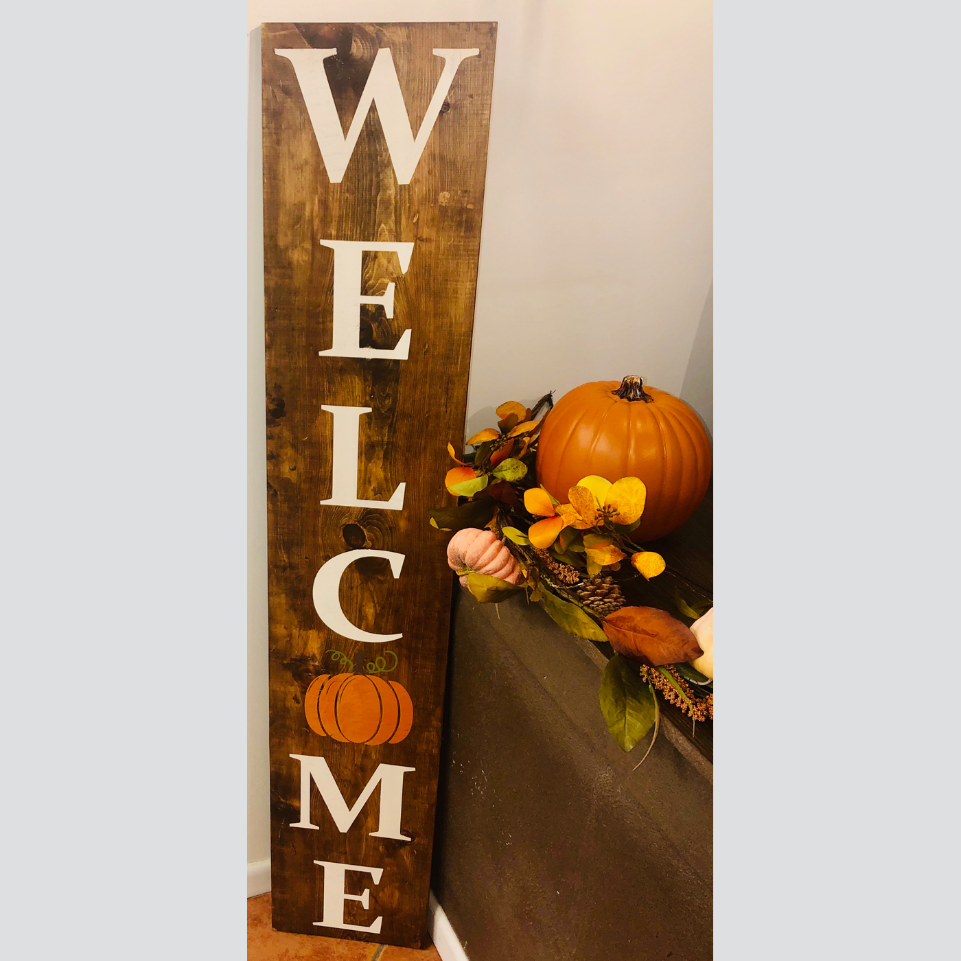 Welcome with Pumpkin DIY Wood Sign Welcome Fall