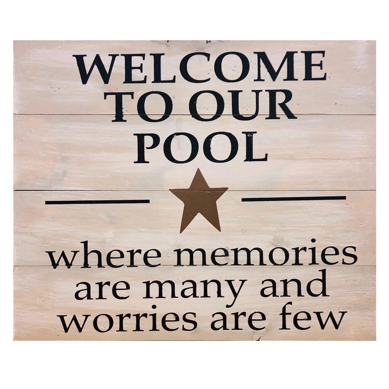 Welcome to our pool wood sign